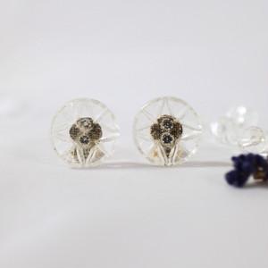 アンティークガラスボタンのイヤリング