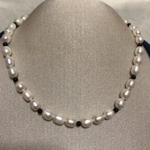 【バロック真珠】本真珠 天然 パール オニキス ネックレス シルバー 本物