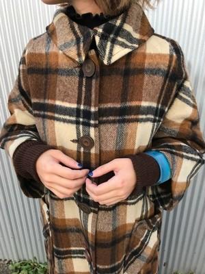 Vintage brown plaid coat (ヴィンテージ ブラウン チェック コート)