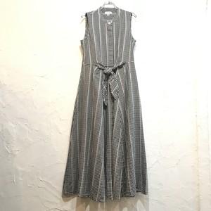【USED】Calvin Klein ギンガムチェック バンドカラー ロング フレア ワンピース ノースリーブ