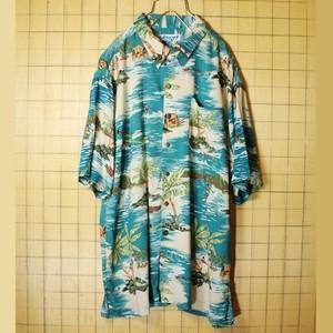 UTILITY 総柄 アロハ ハワイアン ボックス レーヨン シャツ ブルー メンズL 半袖 オープンカラー 開襟 海 ヤシの木 古着 051320ss76