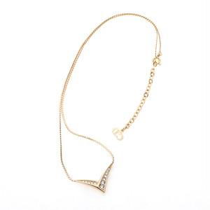 Christian Dior/クリスチャン・ディオール V字ラインストーンネックレス ゴールド(50153)