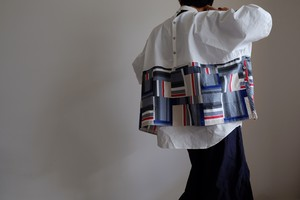 切り替え ワイド Tシャツ / LLサイズ / コットン 【 オフ白と幾何学ブロック 】ボーダー / wide Tshirt cotton 【off-white & geometric pattern 】