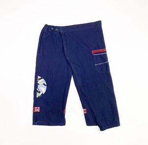 19SS メッシュインディゴフィッシャーマンクロップドパンツ / Cotton indigo mesh fisher man cropped pants