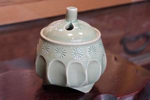 緑釉そぎ(Kyo-yaki&Kiyomizu-yaki Incense burner)
