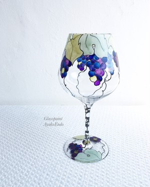 【ブドウ】ステンドグラス風シックな葡萄ワイングラス1つ(カベルネ・ブルゴーニュ)|母の日ギフト・父の日ギフト・結婚祝い・両親贈呈品・還暦祝い・退職祝い・誕生日プレゼント・名入れ・新居祝い・結婚記念日・古希祝い