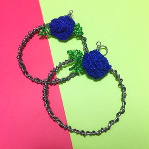 BLUE ROSE MOTIF pierce or earring