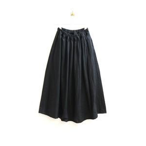 リネンオックス*フレアーギャザースカート*ブラック