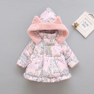 【ベビー服】スウィートフード付きコットンプリント配色シングルブレストコート23659789