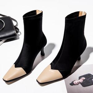 【シューズ】ファッションおすすめストリートポインテッドトゥ切り替え合わせやすいミドル丈ブーツ22730034