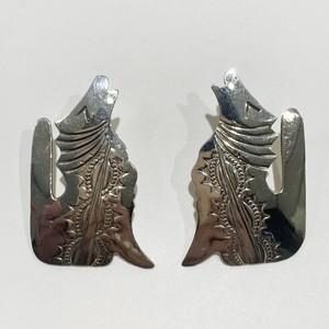 Vintage Nabajo Coyotes Hand Stamped Sterling  Pirced Earrings