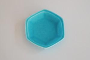 [豆皿] 六角 ターコイズ