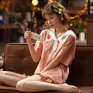 【パジャマ】スウィート刺繍いちごフルーツプリント上下セット27820292