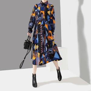 シャツワンピース プリント ゆったりウエスト 韓国ファッション レディース ワンピース シングルブレスト 折り襟 大人カジュアル 大人可愛い ガーリー 578053410988