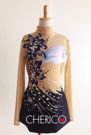 【L】ブルー箔花モチーフ×黒/セパ風綺麗系スタイル