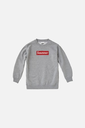 Saunner Box Logo Sweatshirt for Kids - Gray/Red Logo