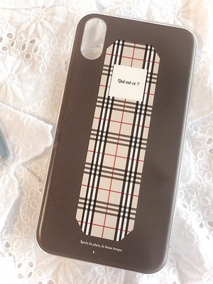 【for iPhone】brown×チェック iPhoneケース
