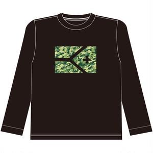 《限定販売 完全受注生産》KYUS 迷彩フラッグ ドライメッシュロングスリーブTシャツ   ブラック×迷彩柄