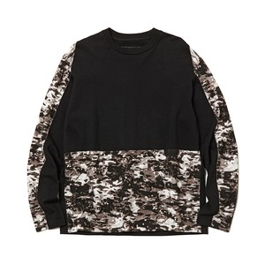 LAYRED CAMO PRINTED CONTRASTED SWEATSHIRT -BLACK