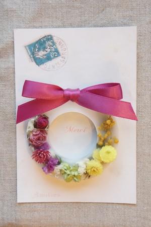 花のアロマワックスサシェ -ミモザとバラのリース-