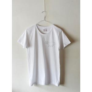 ネコ描きTシャツ 白