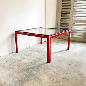 80's Post Modern Style Glass Top Coffee Table オランダ (ヤマト配送不可商品)