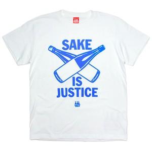 【SAKE Tシャツ】SAKE IS JUSTICE / ホワイト x 青プリント