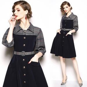 【dress】デートワンピースチェック柄中袖切り替えAライン折り襟