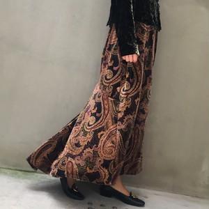 80's Rich brown paisley print long skirt