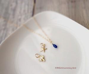 【受注生産】天然石のネックレス◆一粒ドロップ カイヤナイト◆14KGFのチャームがひとつおまけ
