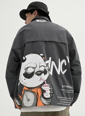 メンズバックプリントジャケット。サングラスパンダがユニークグリーン/イエロー/グレー3カラー