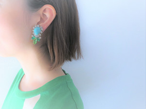 vintage earrings turquoise bijou <ER-RBtq>