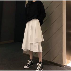 ミドル丈のアシメロングスカート S1805