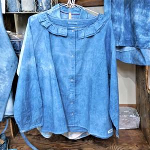 藍染こば屋 / 藍染のフリル襟シャツ