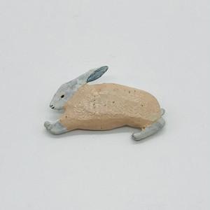 【トリノコ】 木のブローチ「うさぎ」