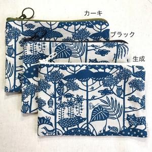 ぺったんこポーチ M 紅型デザイン 琉球の森 青緑