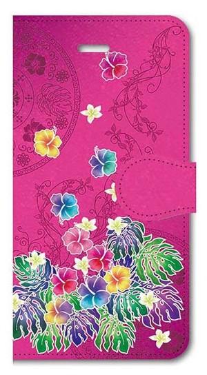 【iPhone5/5s/SE】Tropical Pink トロピカル・ピンク 手帳型スマホケース