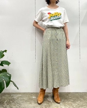 MADE IN INDIA HONORS flower pattern front button rayon skirt【S】