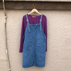 デニムエプロン×カラーロングTシャツ カラー: Purple