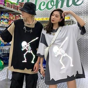 【トップス】骸骨図柄反射ストリートペアルックTシャツ29030902