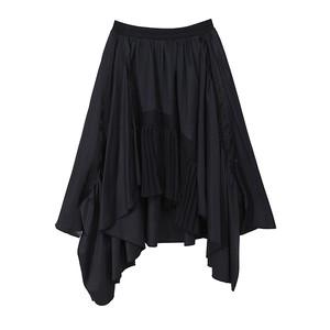 モード系 スカート 膝下丈 アシンメトリー フレアスカート シフォン 透け感 ハイウエスト 大人かわいい フェミニン 20代 30代 オルチャン