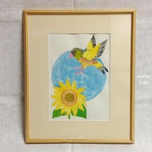 額装版画「夏の鳥ーカワラヒワ」