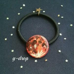 [* Full moon -red *]  アート ヘアゴム ストロベリームーン