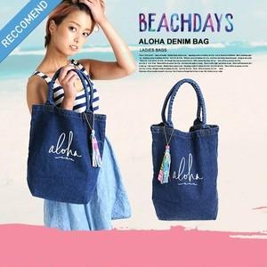 BD-L02 ビーチデイズ ALOHA BAG 人気 かわいい L アロハプリント デニムトート 女性 プレゼント おしゃれ 限定 デニムバッグ 大容量 BEACH DAYS