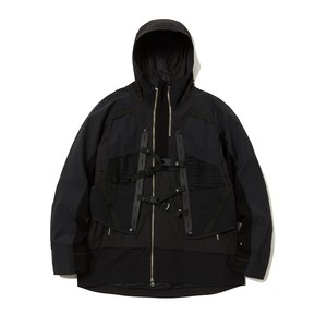 LAYERED HOODED JACKET -BLACK