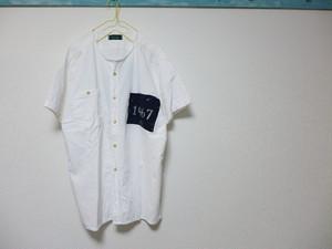 ノーカラー remake  古布+バックプリントシャツ <pulco>