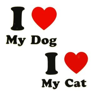 I LOVE Dog・I LOVE Cat   デコパーツ  ステッカー