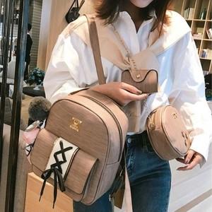 【ファッション小物】レトロ韓国系文芸スタイルファッションキュートPUファスナーバッグセット