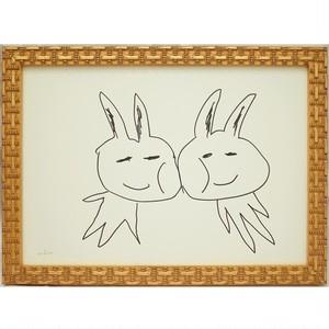 「うさたん」 紙にペン * イラスト ドローイング 現代アート 動物 額縁 内野隆文 takafumiuchino
