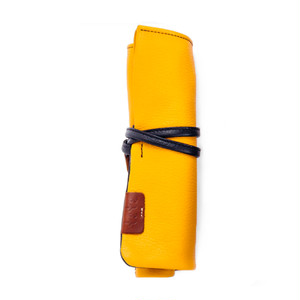 【袋果ロールペンケース / イエロー × ネイビー】文房具・工具をスマートに収納